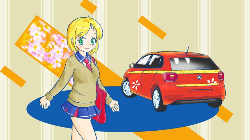 【壁画】VWポロと クルマ擬人化キャラクター「和下みん」ちゃん
